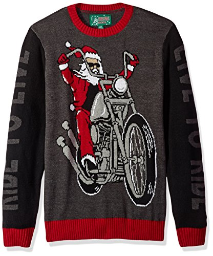 ugly christmas sweater mens motorcycle santa live to ride sweater black xl
