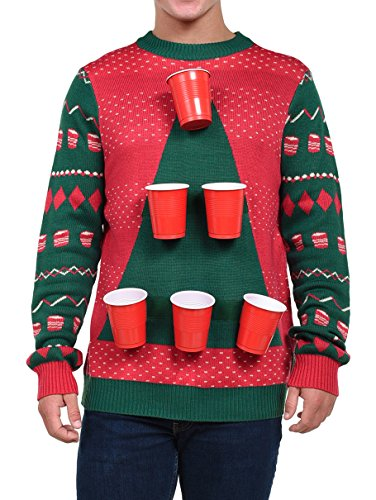 this beer pong sweater is a functional game sweater that allows you to attach and unattach the 6 beer pong cups the sweater comes with 6 tipsy elves - Balls Christmas Sweater