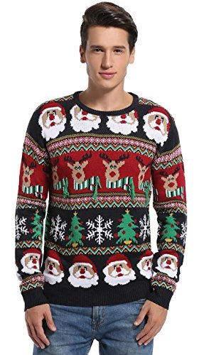 daisyboutique mens christmas decorations stripes sweater cute ugly pullover large striped santa - Cute Ugly Christmas Sweater