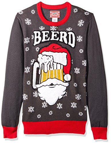 Hybrid Mens Beerd Ugly Christmas Sweater Charcoal Red Large This Holiday Sweater Featuring Santa As A Frothy Beer Mug