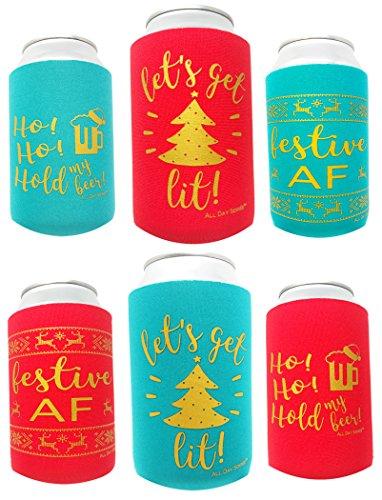Let S Get Lit Holiday Festive Af Beer Can Coolers 6 Pack