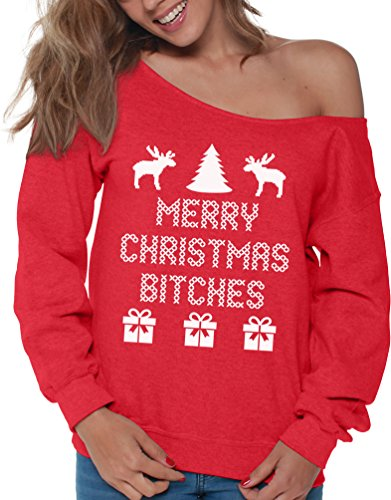 f1c708081 Vizor Merry Christmas Bitches Ugly Christmas Sweatshirt For Women Xmas  Sweater Red M