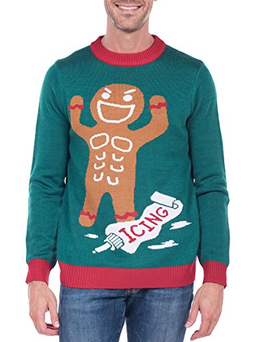 Tipsy elves men 39 s gingerbread man roid rage christmas for Over the top ugly christmas sweaters