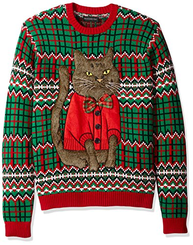 Blizzard Bay Mens Bowtie Cat Crew Neck Ugly Xmas Ugly Christmas