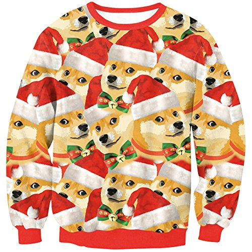 Enlachic Women S 3d Ugly Christmas Print Crew Neck Pullover