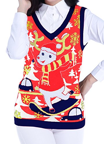 v28 ugly christmas sweater women girls vintage knit reindeer xmas sweater vestl red