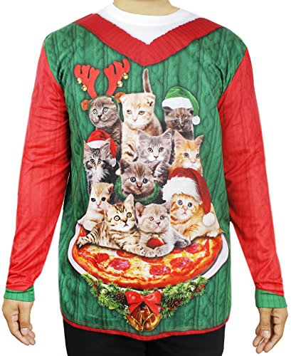 Faux Real Ugly Christmas Sweater , Xmas Cats \u0026 Pizza Long