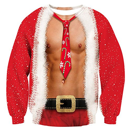 RAISEVERN Mens Ugly Christmas Sweater Funny Muscle Design ...