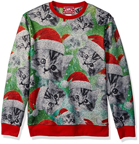 Kitten Christmas Sweater.Hybrid Men S All Over Santa Kittens Holiday Pullover Varied