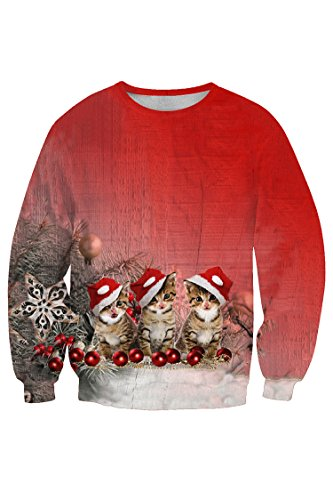Kitten Christmas Sweater.Lacostew Women S O Neck Ugly Xmas Sweater Christmas Kitten