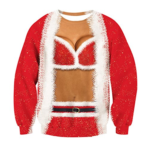 fa9c7a1a9 Leapparel Mens and womens Ugly Christmas Sweater Funny Xmas Sweatshirt 3d  print Fake 2 Pieces Round Neck Pullover tshirt Red