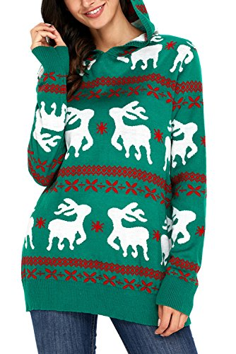 hotapei womens plus size ugly christmas sweaters reindeer snowflakes oversized tunic long santa sweaters hooded green xx large