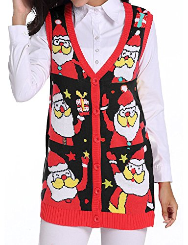 ugly christmas sweater vests cardigan for women ladies girls teens and plus size xl xxl christmas sweaters vintage reindeer