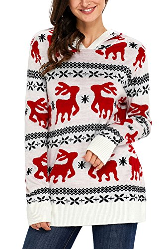Hotapei Ladies Ugly Sweaters Reindeer Snowflakes Oversized Tunic