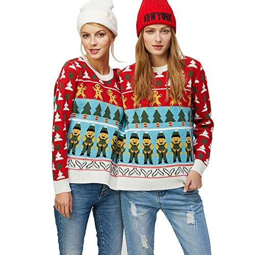 2 Person Christmas Sweater.Charmma Crew Neck Long Sleeve Two Person Knit Pullover Ugly