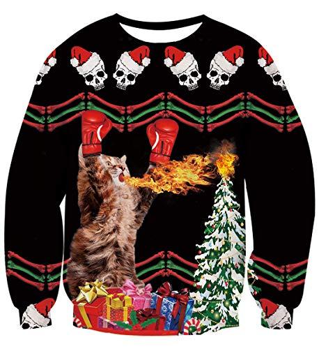 Cat Christmas Sweater.Fanient Mens Boys Funny Ugly Sweaters Cat Christmas Sweater
