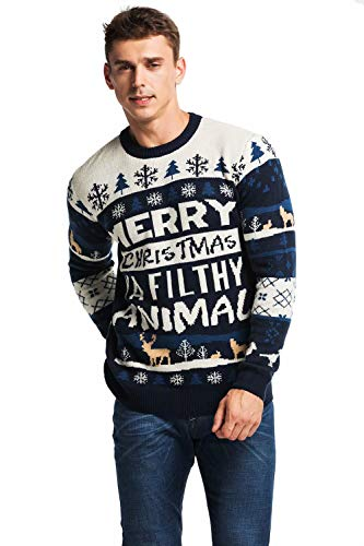 85f63e5f7be912 Unisex Men's Ugly Christmas Sweater Funny Fair Isle Xmas Pullover with Rude  Slogan – Home Alone Holiday Hijinks, Small