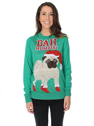 ugly pug sweaters women s bah hum pug ugly christmas sweater ugly 6499
